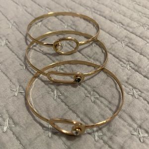 Three Set of Gold Gem Bangles